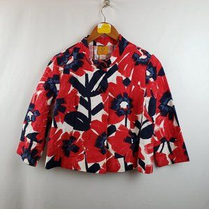 Ruby Rd. Floral Crop Swing Jacket Sz 8P Red